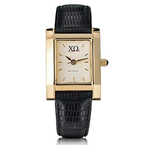 M. LA HART Chi Omega Women's Gold Quad Watch with Leather Strap ()