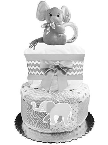 Elephant Diaper Cake - Gender Neutral Baby Shower Gift Idea - Gray -