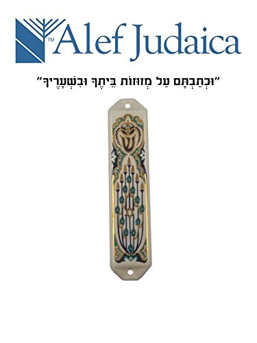 Vintage Flower Star (Vintage Ceramic Menorah Mezuzah Case with Turquoise Flowers and a Gold Star of David)
