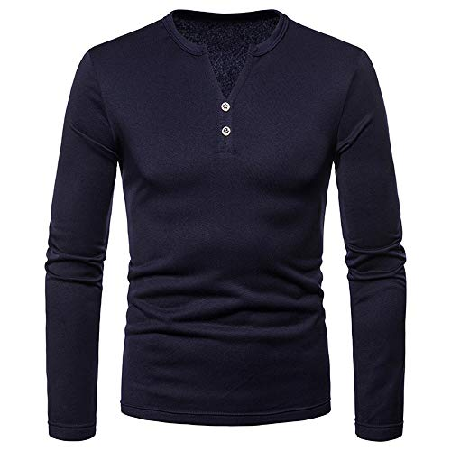 POHOK Men's Autumn Button Long Sleeve Shirt Mens