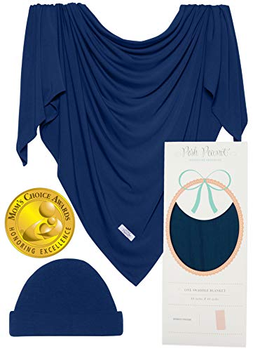 Posh Peanut Baby Boy Swaddle Blanket - Large Premium Knit Viscose from Bamboo - Infant Swaddle Wrap, Receiving Blanket and Beanie Set, Baby Shower Newborn Gift, Registry (Sailor Blue)