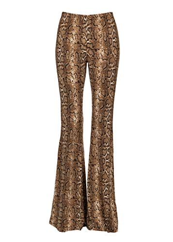 Glam and Gloria Womens Snake Pattern Animal Print Flared Bell Bottom Pants – Size Small ()