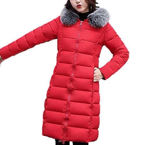 HANMAX Manteau de Coton Rversible avec Capuche Fourrure Doudoune Femme Longue Hiver Chauden Duvet de Coton Grande Taille Rouge