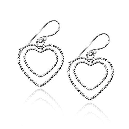 Double Open Heart Love Earrings - Sterling Silver Lightweight Dangle French Wire One Pair Set -