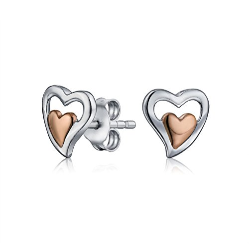 Tiny Two Toned Double Heart Shaped Stud Earrings For Women For Girlfriend Rose Gold Plated 925 Sterling Silver