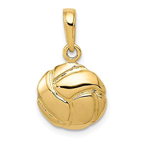 14K Yellow Gold Solid Volleyball Charm 14x11mm