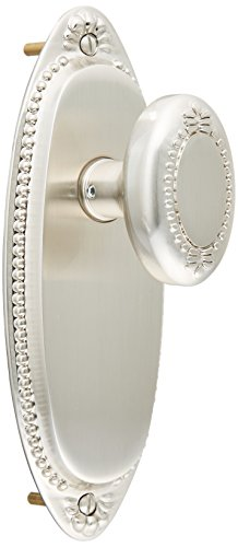 Lydian Door Set with Beaded Oval Knobs Passage Satin Nickel. Unique Door Knobs.