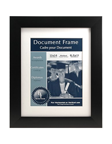 BorderTrends Urban Noir 11x14/8.5x11-Inch Document Wall Frame, Black with White Mat