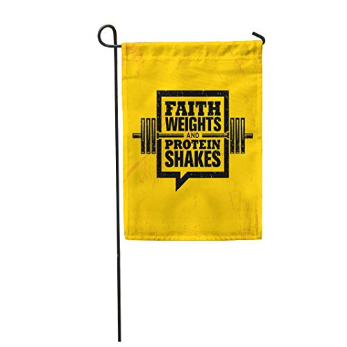 Semtomn Garden Flag 28x40 Inches Print On Two Side Polyester Faith Weights and Protein Shakes Inspiring Workout Fitness Gym Motivation Home Yard Farm Fade Resistant Outdoor House Decor Flag