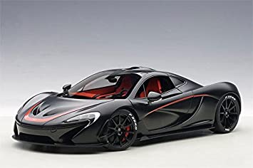 McLaren P1 In Matt Black W Red Accents Composite Diecast Model Car In 1:18