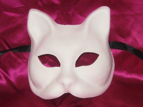 BLANK WHITE GATTO GREZZO VENETIAN MASK FOR DECORATING - Paper Mache Venetian Mask