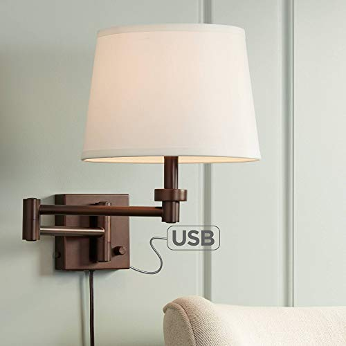 (Vero Oil-Rubbed Bronze Plug-in Swing Arm Wall Lamp with USB - 360)
