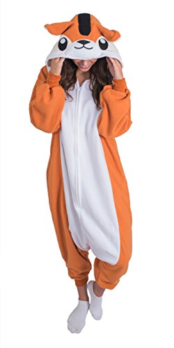 Adult Onesie Chipmunk Animal Pajamas Comfortable Costume With Zipper and Pockets (Large)