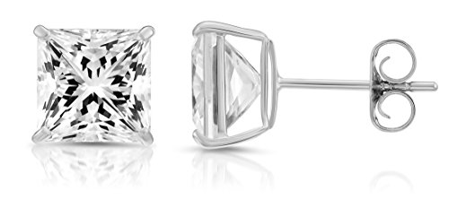 14k White Gold Square Cubic Zirconia Princess-cut Extra Large CZ Stud Earrings, Unisex (8mm, white-gold) ()
