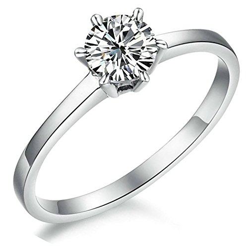 MoAndy 1.5ct Silver Plated Cubic Zirconia CZ One Drill Women Wedding Ring Size 6