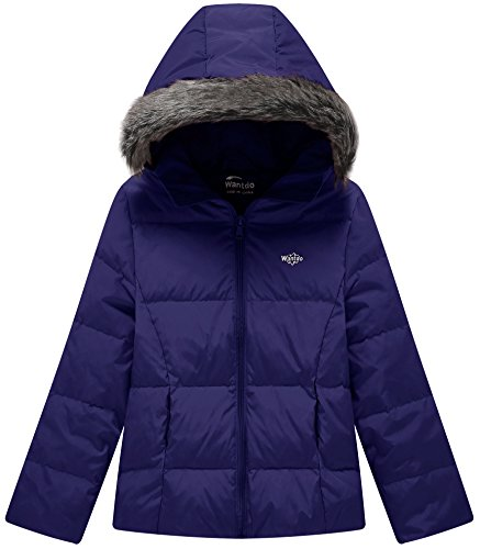 Wantdo Girl's Lightweight Puffer Down Jacket With Hood Packable Outdoors Wind Breaker(Navy, 10/12)
