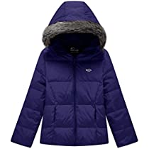 Wantdo Girls Hooded Down Jacket Lightweight Fur Winter Coat