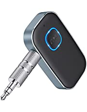 TEUMI Bluetooth Receiver, Wireless Bluetooth Adapter for Car, Bluetooth AUX Adapter with Built-in Mic for Hands-Free Calls, Music Streaming, Home Stereo, Speakers (16H Playtime, Dual Link) - Grey