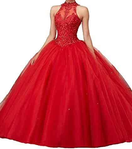 fd0e32eac468 Women's Lace Pageant Quinceanera Dresses Ball Gown Halter Prom Evening Gowns