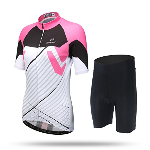 (DuShow His-and -Hers Lovers Outfit Short Sleeve Bike Bicycle Cycling Jersey Top and 3D Padded Shorts Tight Set (Pink-Women,L))