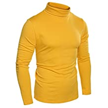 Coofandy Mens Fashion Slim Fit Thermal Underwear Turtleneck Long Sleeve Solid T-Shirts