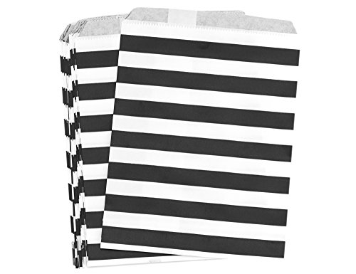 FiveSeasonStuff Greaseproof Paper Bags for Food Candy Goodies Gift Party Wedding Favors Birthday Baby Shower Buffets Picnics BBQ Arts & Crafts DIY Retail (5.12''x 7'') — PACK 100 (Black, Stripes)