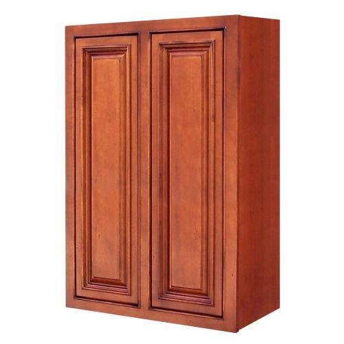 Sagehill Designs AHW2436 Amherst 24″ x 36″ Double Door Kitchen Wall Cabinet, Burnt Cinnamon