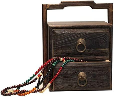 YANGJUN-Joyería Caja Almacenaje Monitor Organizador Madera Maciza Multifuncional Portátil Kit De Costura Multicapa Caja De Te (Color : Brown, Tamaño : 20.5x18x25cm): Amazon.es: Hogar