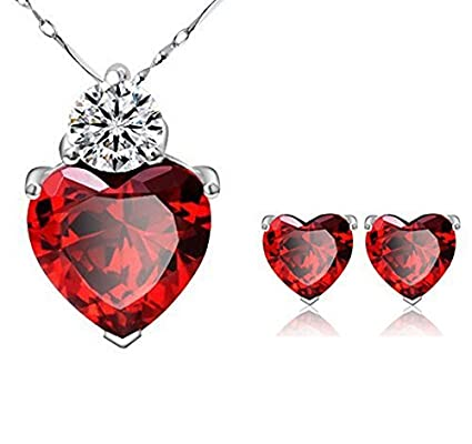 925 silver plated red crystal heart pendant and earring amazon 925 silver plated red crystal heart pendant and earring necklace set with chain for women by aloadofball Gallery