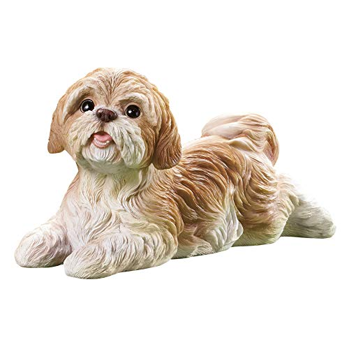 Collections Etc Shih Tzu Garden Figurine - Realistic Textured Figurine for Yard, Porch, or Any Room in Home, Tan and White from Collections Etc