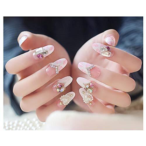 (HappyERA 24 Pcs Long Oval Fake Nails Wedding Crystal Diamond False Nails )