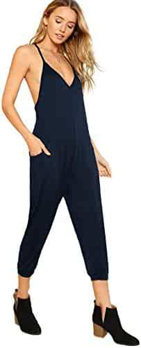 be5a54083951 DIDK Women s V Neck Spaghetti Strap Harem Leg Cami Jumpsuit