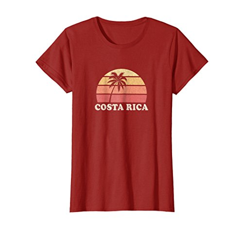 Womens Costa Rica Vintage T Shirt Retro 70s Throwback Tee Design Large Cranberry