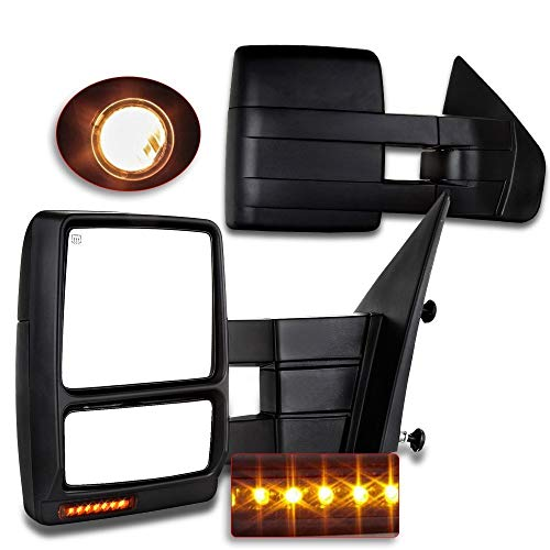 (For Ford Towing Mirrors SCITOO Exterior Accessories Mirrors for 2007-2014 Ford F150 Truck with Power Controlling Heated Amber Turn Signal Manual Telescoping and Folding Features)