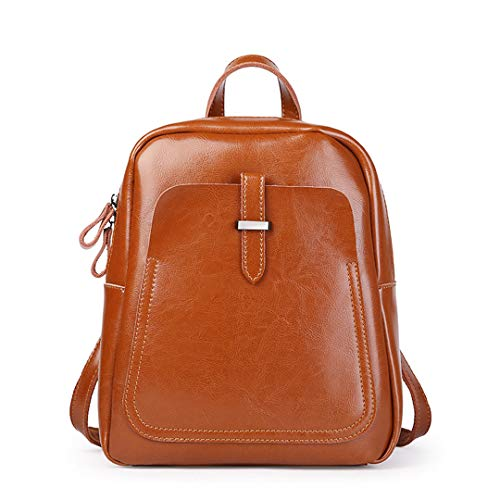 Women's Bags Backpacks Casual Simple Vertical Leather Backpack Ladies Oil Wax Leather College Zipper Backpack Hot Sale 50-70% OFF