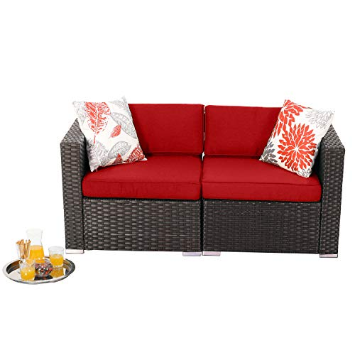 PHI VILLA 2-Piece Outdoor Furniture Patio Rattan Sectional Sofa Set Loveseat with Upgrade Seat Cushions,Red
