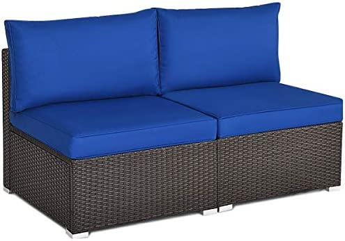 Tangkula 2 PCS Outdoor Wicker Armless Sofa