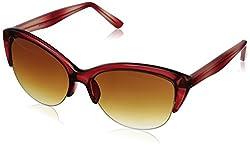 Adrienne Vittadini Women's AV1013CE-615 Cateye Sunglasses, Red Crystal, 56 mm