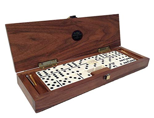 (Alex Cramer Le Club Luxury Domino Set with Handcrafted Walnut Case and Cribbage / Counter Top - Tournament Quality 28 Indestructible (Domino Set with Personalized Brass Plate))