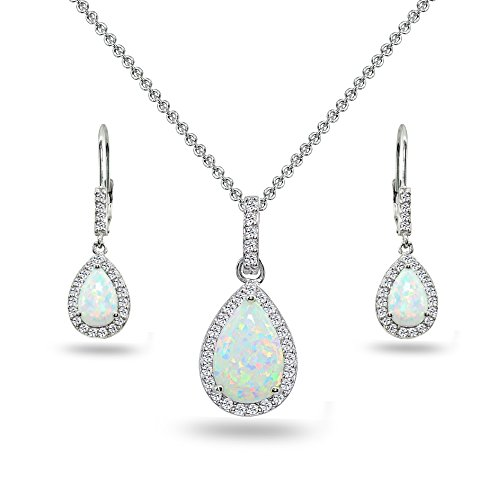 (Sterling Silver Simulated White Opal & Topaz Teardrop Halo Dangling Necklace & Leverback Earrings)