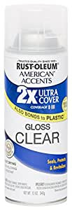 Rust Oleum 280702 American Accents Ultra Cover 2X Spray Paint, Gloss Clear, 12-Ounce