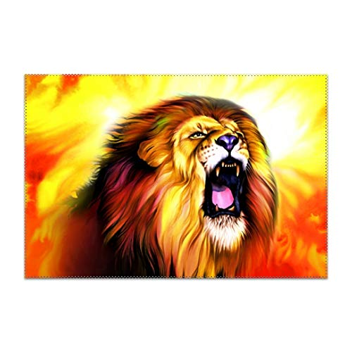 Placemats,Roaring Lion Table Mats Non-Slip Washable Place Mats,Heat Resistant Kitchen Tablemats for Dining -