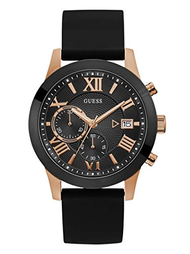 GUESS Men's Quartz Stainless Steel and Silicone Casual Watch, Color:Black (Model: U1055G3)