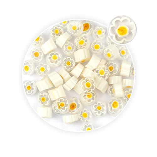 White &Yellow Six Petal Flower Pattern Millefiori Glass Loose Beads Jewelry Pendant Making - Pendant Millefiori Flower