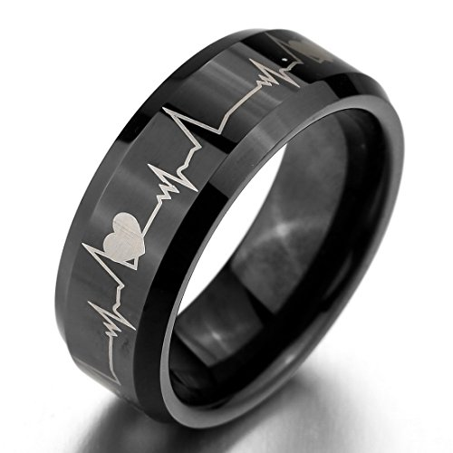 INBLUE Men's Wide 8mm Tungsten Ring Band Black Heart Comfort Fit Couple Wedding Promise - 8mm Tungsten Wide Ring
