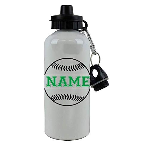 Personalized Custom Add your Name - Baseball/Softball Aluminum White Finish 20 Ounce Sport Water Bottle, 2 Lids Customizable