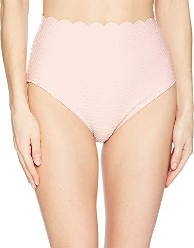 Kate Spade New York Marina Piccola Textured Scallop High-Waist Bottom Aloha Pink SM