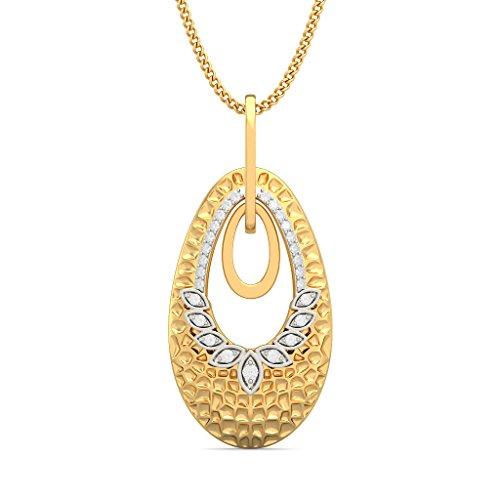 18K Or jaune 0,15CT TW Round-cut-diamond (IJ | SI) Pendentif