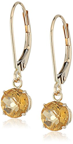 10k Yellow Gold Round Checkerboard Cut Citrine Leverback Earrings (6mm)