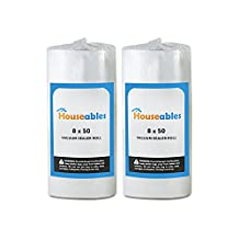 Vacuum Sealer Rolls, Two (2), Large 8 x 50', Commercial Grade Kitchen Storage and Seal Bags by Houseables